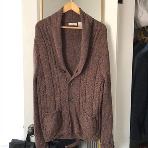 Madison Shawl Chunky Cable Knit Cardigan Brown M